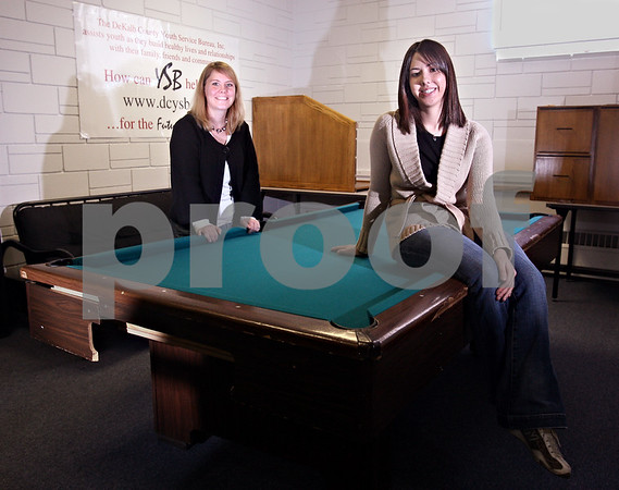 Beck Diefenbach  -  bdiefenbach@daily-chronicle.com<br /> <br /> Program coordinator Krys Sarkady, right, and Tobacco Intervention Coordinator Trisha McKendry are part of the team at the Youth Service Bureau in DeKalb, Ill.
