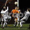 Rob Winner – rwinner@daily-chronicle.com<br /> In the first half, DeKalb's Niko Tsiagalis tries to make a play in front of the Freeport goal during the IHSA Class 2A Freeport Sectional at Belvidere on Friday October 30, 2009. DeKalb lost to Freeport, 1-0.