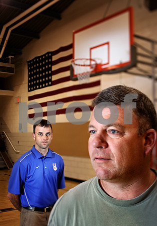 Beck Diefenbach  -  bdiefenbach@daily-chronicle.com<br /> <br /> Former Malta High School basketball coaches Shawn Byers and Corey Jenkins (left).