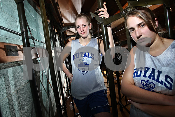 Beck Diefenbach – bdiefenbach@daily-chronicle.com<br /> <br /> Hinckley-Big Rock seniors Melissa Herrmann, left, and Bianca Edmeier.