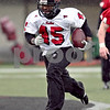Beck Diefenbach  -  bdiefenbach@daily-chronicle.com<br /> <br /> Northern Illinois' Ryan Morris (15) during practice at NIU's Huskie Stadium in DeKalb, Ill., on Tuesday March 24, 2009.