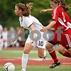 Beck Diefenbach  -  bdiefenbach@daily-chronicle.com<br /> <br /> Cathum Glenwood's Abby Juhlin (right) hangs on to Sycamore's Karissa Miller (left) during the second half of the Class 2A third place tournament game at North Central College in Naperville, Ill., on Saturday June 6, 2009. Sycamore lost 1 to 2, taking fourth place in the tournament.