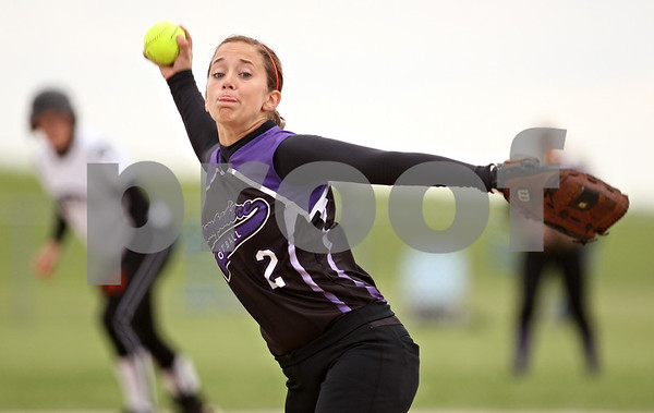 Beck Diefenbach  -  bdiefenbach@daily-chronicle.com<br /> <br /> Hampshire's Ally Kent (2) winds up during the second inning of the game against Kaneland at Burlington Central High School in Burlington, Ill., on Thursday May 28, 2009.