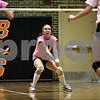 Rob Winner –  rwinner@daily-chronicle.com<br /> Sycamore's Sarah Verkler prepares to bump a DeKalb serve during the second game.<br /> 09/22/2009