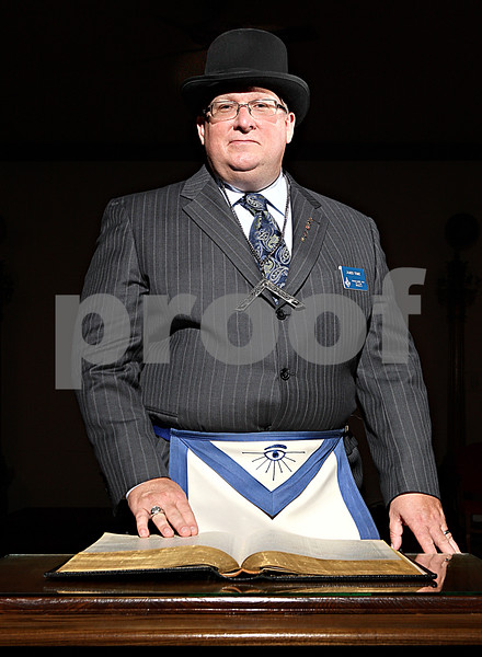 Rob Winner – rwinner@daily-chronicle.com<br /> Jim Tome, the Worshipful Master of the DeKalb Lodge #144, stands before an altar at the DeKalb Masonic Temple.<br /> 09/22/2009