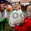 "ROB WINNER | Chronicle News Group<br /> (From left to right) Nicole Regnery attaches a tag to a pumpkin entry which was created by her daughter, Phoebe, 11, as her son, Cole, 13, holds on to ""Mrs. Porcupine.""<br /> 10/22/2008"