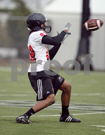 Beck Diefenbach  -  bdiefenbach@daily-chronicle.com<br /> <br /> Northern Illinois' Preston Williams (82) during practice at NIU's Huskie Stadium in DeKalb, Ill., on Tuesday March 24, 2009.