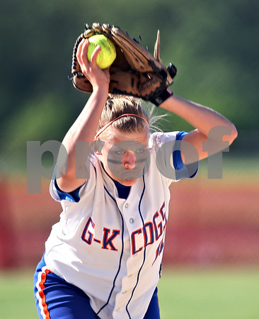 Beck Diefenbach  -  bdiefenbach@daily-chronicle.com<br /> <br /> Genoa-Kingston Ashley Miller (11) winds up during the game against Forreston High School at Stillman Valley, Ill., on Wednesday May 20, 2009.