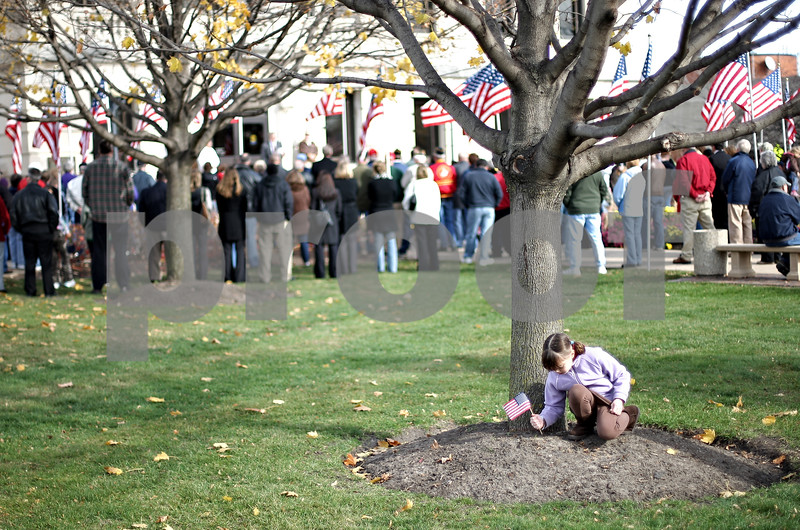 Beck Diefenbach  -  bdiefenbach@daily-chronicle.com<br /> <br /> Noelle Simone, 6, of Sycamore, plants an American Flag into the dirt as the Veteran's Day observation goes on in front of the DeKalb County Courthouse in Sycamore, lll., on Nov. 11, 2009.