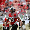 Rob Winner – rwinner@daily-chronicle.com<br /> A frustrated Cory Hanson of NIU leaves the field in the third quarter after Idaho tacks on the extra point after a touchdown drive. NIU was defeated by Idaho 34-31 on Saturday.<br /> 09/26/2009
