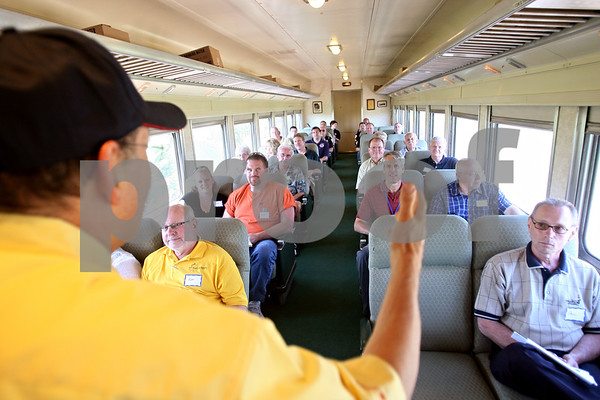 Beck Diefenbach  -  bdiefenbach@daily-chronicle.com<br /> <br /> Operation Lifesaver presenter Dr. Barry Kaufman of the Union Pacific Safety Train discusses rail safety to local officials and safety personel on Tuesday June 23, 2009.