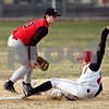 Beck Diefenbach  -  bdiefenbach@daily-chronicle.com<br /> <br /> Indian Creek's Ryan Fox, right, (22) is safe at second base despite the efforts by Amboy's Taylor Payne (13) during the bottom of the third inning of the game at Indian Creek High School in Shabbona, Ill., on Friday March 27, 2009.