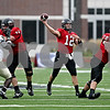 Rob Winner – rwinner@daily-chronicle.com<br /> Northern Illinois quarterback Chandler Harnish fires a touchdown pass to wide receiver Nathan Palmer in the first quarter. Northern Illinois went on to defeat Western Michigan 38-3 on Saturday.<br /> 10/03/2009