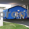 Rob Winner – rwinner@daily-chronicle.com<br /> <br /> Just outside the emergency entrance at Kishwaukee Community Hospital in DeKalb an alternative receiving station has been constructed for patients with flu-like symptoms.<br /> <br /> 10/20/2009