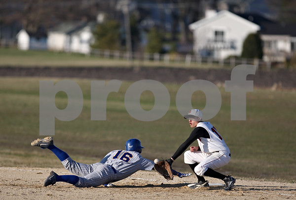 Beck Diefenbach  -  bdiefenbach@daily-chronicle.com<br /> <br /> Somonauk Brian Decker (16) leaps back to first base as Indian Creek Trevor Foster (10) catches the ball during the top of the sixth inning at Indian Creek High School in Shabbona, Ill., on Friday April 3, 2009.