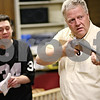 Beck Diefenbach  -  bdiefenbach@daily-chronicle.com<br /> <br /> Right, Bernie Schuneman, as Atticus, and James Mallouf, as Sheriff Heck Tate, rehearse a scene for To Kill a Mockingbird at the Stagecoach Players Theater in DeKalb, Ill., on Wednesday May 13, 2009.