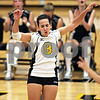 Beck Diefenbach  -  bdiefenbach@daily-chronicle.com<br /> <br /> Sycamore's Justine Schepler (8) celebrates after scoring a point during the first game of their match against Geneva High School in Sycamore, Ill., on Thursday Sept. 17, 2009. Geneva beat Sycamore 2-0.