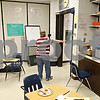 Beck Diefenbach  -  bdiefenbach@daily-chronicle.com<br /> <br /> 6th grader Eric Carlson attempts to make his way out of the classroom while blindfolded during the Braille Club meeting at Sycamore Middle School in Sycamore, Ill., on Thursday Jan. 22, 2008. Students were asked to eat cake blindfolded in celebration of Louis Braille's 200th birthday. Students were celebrating Louis Braille's 200th birthday.