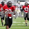 Rob Winner – rwinner@daily-chronicle.com<br /> Tommy Davis races for the end zone on a punt return during Saturday's home game against Western Michigan. Davis was able to reach the end zone, but the play was called back after Northern Illinois was flagged for an illegal block in the back. Northern Illinois went on to defeat Western Michigan 38-3 on Saturday.<br /> 10/03/2009