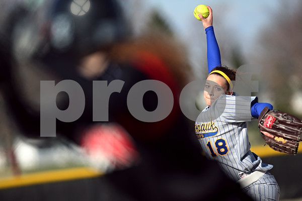 Beck Diefenbach  -  bdiefenbach@daily-chronicle.com<br /> <br /> Somonauk pitcher Alexa Smith (18) winds up during the bottom of the 1st inning against Indian Creek at Indian Creek High School in Shabbona, Ill., on Friday April 3, 2009.