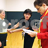 Beck Diefenbach  -  bdiefenbach@daily-chronicle.com<br /> <br /> Corki Williams stands by, as registered nurses Marla Barresi, center, and Martha Kieffer record her waist measurement for the final weigh-in for Weigh No More at the Kishwuakee YMCA in Sycamore, Ill., on Monday May 11, 2009.