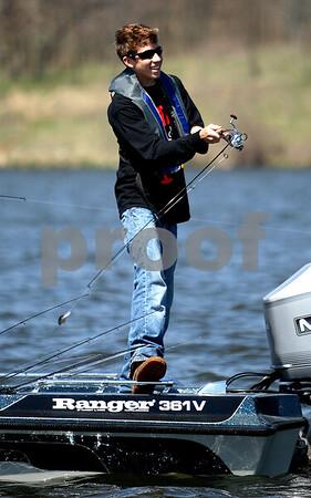 Rob Winner – rwinner@kcchronicle.com<br /> Batavia's Adam Galardini casts his line during the IHSA bass fishing sectional at Shabbona Lake on Friday.<br /> 04/24/2009