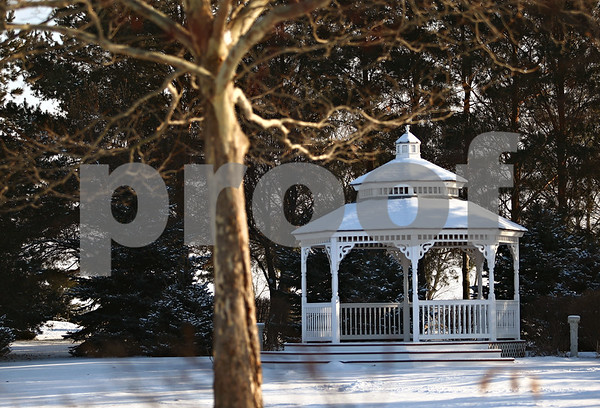 Beck Diefenbach  -  bdiefenbach@daily-chronicle.com<br /> <br /> A gazebo at Donna and Howard Petersen's Chapel in the Pines in Sycamore, Ill., on Thursday Jan. 8, 2009.