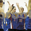 Rob Winner – rwinner@daily-chronicle.com<br /> Hinckley-Big Rock's Cassie Rickert (2) celebrates with her teammates after a kill in the second game of the IHSA Class 1A Westminster Christian Regional in Elgin on Wednesday October 28, 2009.