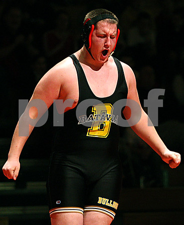 Rob Winner – rwinner@daily-chronicle.com<br /> Rob Winner – rwinner@kcchronicle.com<br /> Batavia's Pat Martin reacts after defeating DeKalb's Alex Robinson during the first match on Thursday night in Batavia.<br /> 12/03/2009 <br /> 275 lbs.