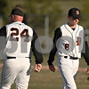 Beck Diefenbach  -  bdiefenbach@daily-chronicle.com<br /> <br /> DeKab head coach Justin Keck takes pitcher Garrett Weydert out of the game during the fourth inning of the game against Batavia at DeKalb High School in DeKalb, Ill., on Wednesday April 15, 2009.