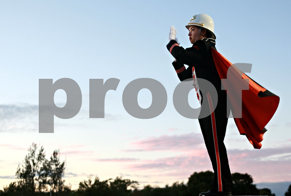 Beck Diefenbach  -  bdiefenbach@daily-chronicle.com<br /> <br /> Drum major Somali Wilson conducts the DeKalb High School Marching Band before the start of the football game against Hampshire at DeKalb High School in DeKalb, Ill., on Friday Sept. 3, 2010.