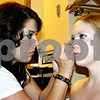 "Nicole Weskerna<br /> Makeup artist Tiffany Weeks (left), of Somonauk, primps actress Deneen Melody, of Chicago, to shoot a scene for vampire film, ""Afraid of Sunrise,"" at the Stratford Inn in Sycamore, Ill., on Wednesday Sept. 29, 2010."