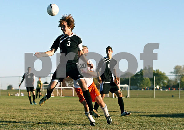 Rob Winner – rwinner@daily-chronicle.com<br /> <br /> Sycamore's Tyler Wallace looks to control a ball during the second half in DeKalb, Ill. on Thursday October 7, 2010. DeKalb defeated Sycamore, 2-1.