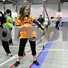 Rob Winner – rwinner@daily-chronicle.com<br /> <br /> Clinton Rosette Middle School student Gabbie Engstrom, 11, reacts after launching an arrow at a target while learning archery during a physical education incentive field trip at Northern Illinois University on Friday April 16, 2010 in DeKalb, Ill.