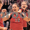 Kyle Bursaw - kbursaw@daily-chronicle.com<br /> <br /> From left Cameron Wallace, Anna Ostrander and Hannah Bialas celebrate a point against the Hinckley-Big Rock Royals in the IHSA Girls Volleyball Regional on Saturday Oct. 30, 2010 at Hinckley-Big Rock High School.