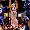 Rob Winner – rwinner@daily-chronicle.com<br /> NIU's Mike DiNunno is fouled while taking a shot in the first half on Saturday January 30, 2010 at the Convocation Center in DeKalb, Ill. DiNunno's shot was good and he followed up with a free throw.