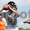 Rob Winner – rwinner@daily-chronicle.com<br /> <br /> DeKalb quarterbacks Brian Sisler (front) and Bobby Russell practice their footwork during their first practice on Wednesday August 11, 2010 in DeKalb, Ill.