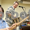 "Rob Winner – rwinner@daily-chronicle.com<br /> <br /> Tyler Donnelly (left), 5, and his father Todd Donnelly play the drums during an assembly at Gwendolyn Brooks Elementary School in DeKalb, Ill. on Tuesday March 30, 2010. Brooks Elementary is celebrating Fine Arts Week and their theme is ""Under the Sea."""