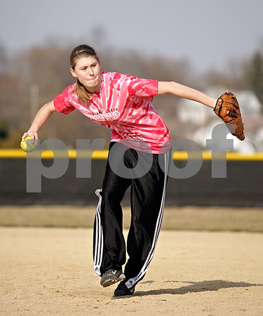Beck Diefenbach  -  bdiefenbach@daily-chronicle.com<br /> <br /> Indian Creek freshman Lindsey Conley (left) throws the ball during practice at Indian Creek High School in Shabbona, Ill., on Friday March 19, 2010.