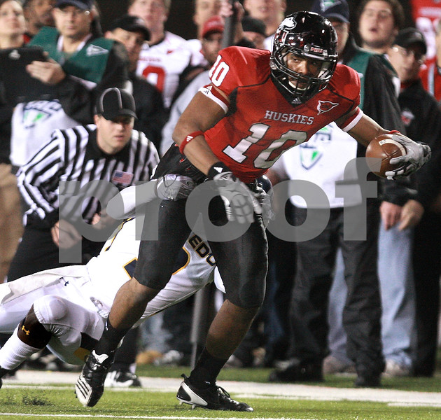 Kyle Bursaw - kbursaw@daily-chronicle.com<br /> <br /> Northern Illinois wide receiver Willie Clark (10) fights for extra yards during the game against the Toledo in DeKalb, Ill. on Nov. 9, 2010.