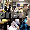 Rob Winner – rwinner@daily-chronicle.com<br /> Karen Schmitt, of Kishwaukee College, explains the results of a personality test that was given to a group of local area high school students on Thursday January 21, 2010 at the Flewellin Memorial Library in Shabbona, Ill. The students are a part of Youth Engaged in Philanthropy, a youth program that teaches young people leadership skills and the importance of community involvement and philanthropy.