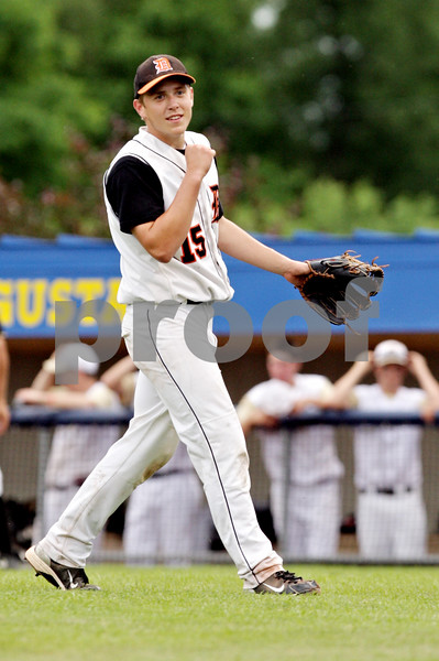 Rob Winner – rwinner@daily-chronicle.com<br /> <br /> DeKalb pitcher Ben Dallesasse reacts at the end of the IHSA Class 3A Augustana College Super-Sectional on Monday June 7, 2010. DeKalb defeated Galesburg, 8-4.