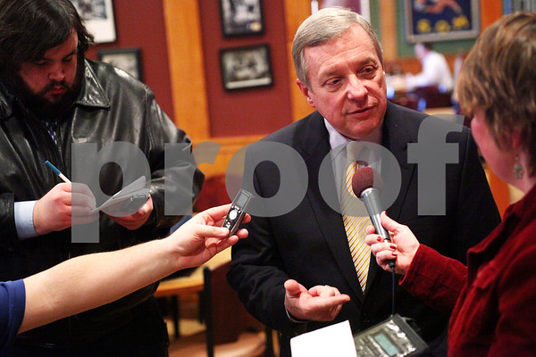 Beck Diefenbach  -  bdiefenbach@daily-chronicle.com<br /> <br /> Sen. Dick Durbin answers questions from members of the media following a luncheon at Johnny's Charhouse in Sycamore, Ill., on Tuesday Jan. 5, 2009.