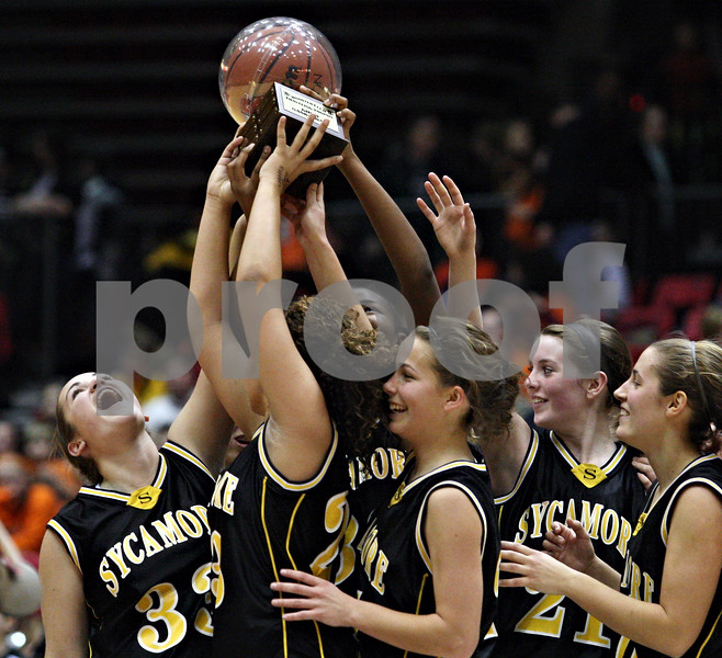 Beck Diefenbach  -  bdiefenbach@daily-chronicle.com<br /> <br /> The Sycamore girls basketball team reacts after receiving their trophy for beating DeKalb High School at the Northern Illinois University Convocation Center in DeKalb, Ill., on Friday Jan. 30, 2009.