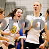 Rob Winner – rwinner@daily-chronicle.com<br /> <br /> The Sycamore volleyball team including Brittany Huber (from left to right), Hannah Knox, Evyn McCoy, and Kaitlyn Roach, celebrate a kill by McCoy during their second game against Burlington Central in Maple Park, Ill. on Thursday October 28, 2010. Sycamore went on to defeat Burlington Central, 25-17 and 25-22.