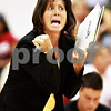 Beck Diefenbach – bdiefenbach@daily-chronicle.com<br /> <br /> Sycamore head coach Debbie Klock calls out to her players during the first game of the match against DeKalb at Victor E. Court in the Convocation Center on the campus of Northern Illinois University in DeKalb, Ill., on Tuesday Sept. 14, 2010. DeKalb defeated Sycamore 2 to 1.