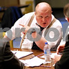Beck Diefenbach  -  bdiefenbach@daily-chronicle.com<br /> <br /> Juror number 6, played by John Mehalic talks with other jury members during a rehearsal for the play 12 Angry Men at Westminster Presbyterian Church in DeKalb on Thursday May 20, 2010.