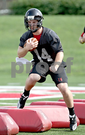 Beck Diefenbach - bdiefenbach@daily-chronicle.com<br /> <br /> Northern Illinois quarterback Jordan Lynch during the first practice at Huskie Stadium in DeKalb, Ill., on Thursday Aug. 5, 2010.