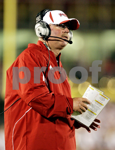 Beck Diefenbach  -  bdiefenbach@daily-chronicle.com<br /> <br /> Northern Illinois head coach Jerry Kill during the game against Iowa State at Jack Trice Stadium on the campus of Iowa State University in Ames, Iowa, on Thursday Sept. 2, 2010. Iowa State defeated Northern Illinois 27 to 10.