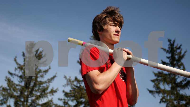 Rob Winner – rwinner@daily-chronicle.com<br /> <br /> Kaneland senior Logan Markuson prepares for the pole vault during practice in Maple Park, Ill. on Thursday April 1, 2010.